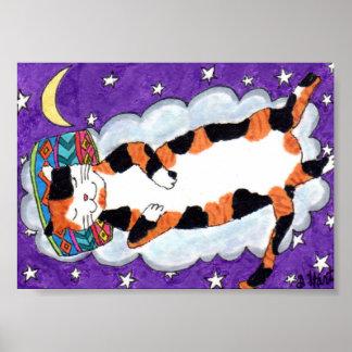 Gato de calicó que soña mini arte popular póster