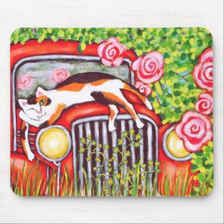 Gato de calicó, rosas y viejo arte Mousepad del co