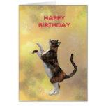 Gato de calicó y feliz cumpleaños tarjetón