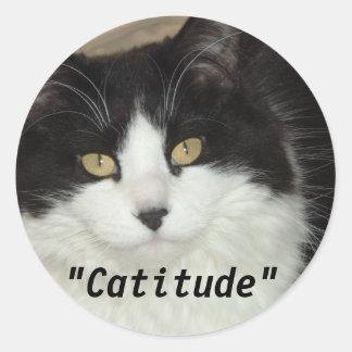 Gato de Catitude con una actitud Pegatina Redonda