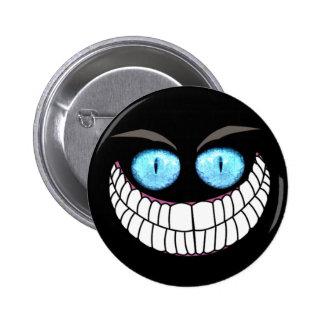Gato de Cheshire - botón de los ojos azules Pins