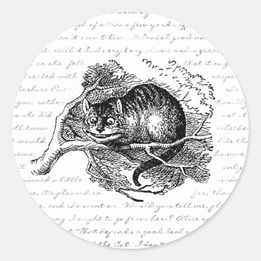 Gato de Cheshire - estamos todos enojados aquí Pegatina Redonda