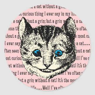Gato de Cheshire - vintage Alicia en el país de Pegatina Redonda