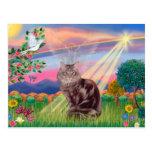 Gato de Coon de Maine - ángel de la nube Tarjeta Postal
