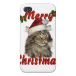 Gato de Coon de Maine de las Felices Navidad iPhone 4/4S Fundas
