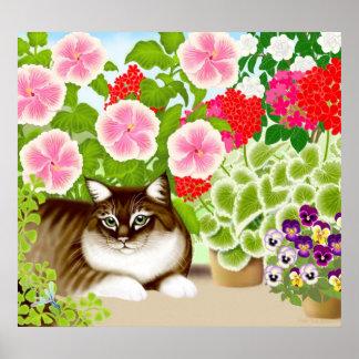 Gato de Coon de Maine en poster de la selva del ja