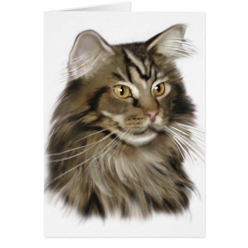 Gato de Coon negro de Maine del Tabby Felicitacion