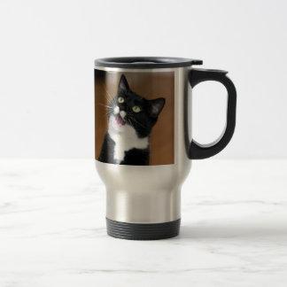 Gato de Derpy que hace una cara tonta Taza De Viaje