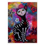 Gato de Dia de los Muertos Meow por Prisarts Felicitacion