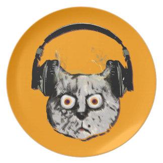 gato de DJ de la música con el auricular Platos De Comidas