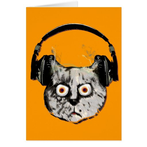 gato de DJ de la música con el auricular Tarjeta De Felicitación