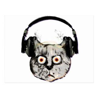gato de DJ de la música con el auricular Tarjeta Postal