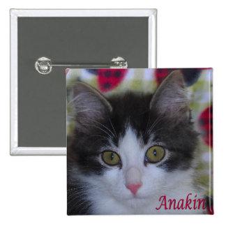 Gato de dos piernas de Anakin, botón lindo del gat Pin Cuadrado