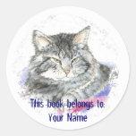 Gato de encargo - placa de libro etiquetas redondas