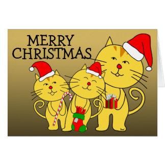 Gato de familia de la tarjeta de las Felices Navid