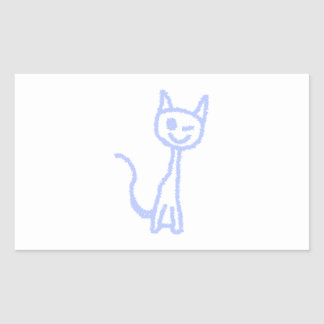 Gato de guiño lindo. Azul Rectangular Altavoces