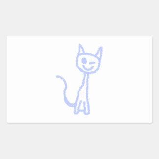 Gato de guiño lindo. Azul Pegatina Rectangular