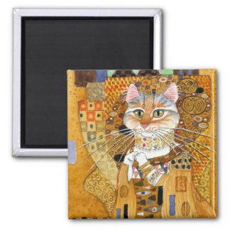 Gato de Gustavo Klimt en imán de la parodia del