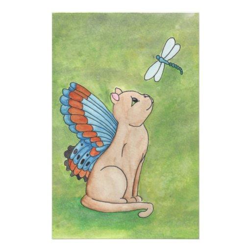 Gato de hadas con la libélula papeleria de diseño