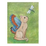 Gato de hadas con la libélula tarjeta postal