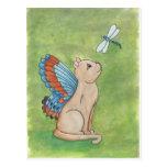 Gato de hadas con la libélula tarjetas postales