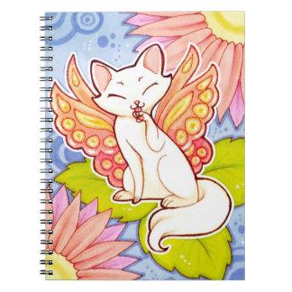 Gato de hadas de la mariposa, cuaderno del persona