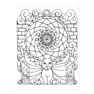 Gato de hadas y ventana color de rosa postales