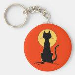 Gato de Halloween con el ~ de la luna Llavero Redondo Tipo Pin