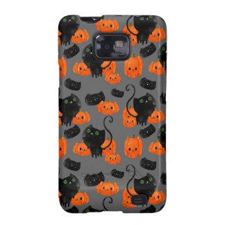 Gato de Halloween con el modelo de las calabazas Samsung Galaxy S2 Funda