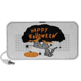 Gato de Halloween con los clips del oído del palo  Notebook Altavoz