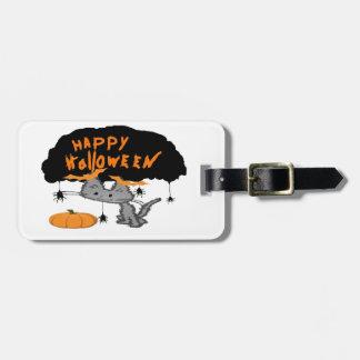Gato de Halloween con los clips del oído del palo Etiquetas Bolsas