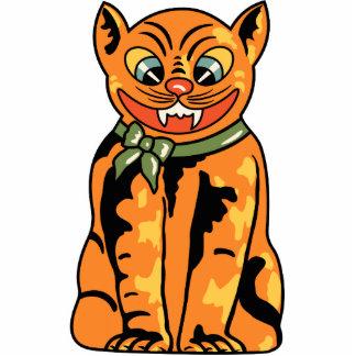 gato de Halloween del alemán del vintage de los añ Escultura Fotográfica