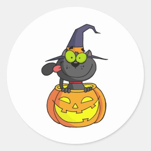 Gato de Halloween del dibujo animado Pegatinas Redondas