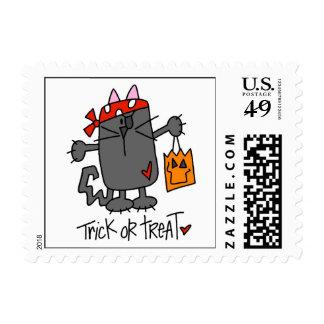 Gato de Halloween del truco o de la invitación Estampillas