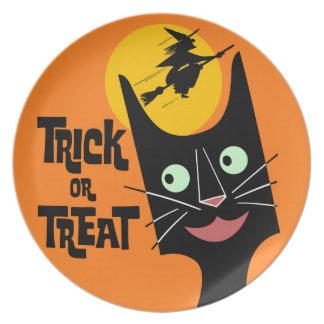 Gato de Halloween del truco o de la invitación Platos