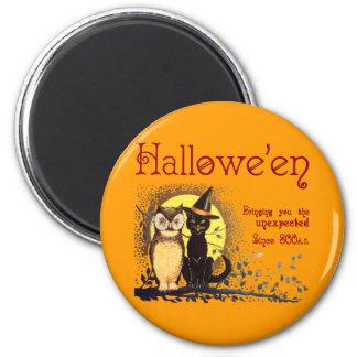Gato de Halloween del vintage e imán del búho