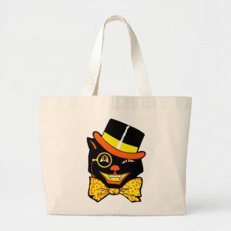 Gato de Halloween del vintage en el sombrero de co Bolsa Tela Grande