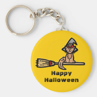 Gato de Halloween en el palo de escoba Llavero Personalizado