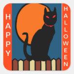 Gato de Halloween en la cerca Pegatina Cuadrada