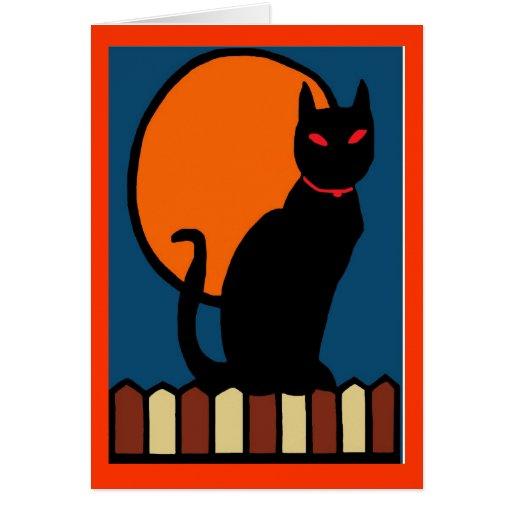 Gato de Halloween en la cerca Tarjeta