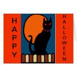 Gato de Halloween en la cerca Tarjetón