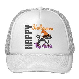 Gato de Halloween en las botas de la bruja Gorras