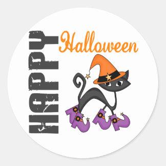 Gato de Halloween en las botas de la bruja Pegatina Redonda