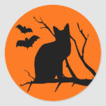 Gato de Halloween en pegatina de la luna de cosech