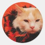 Gato de Halloween Etiquetas Redondas