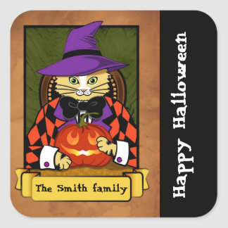 Gato de Halloween Calcomanías Cuadradass Personalizadas