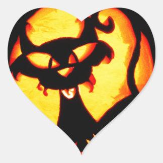Gato de Halloween Pegatina En Forma De Corazón