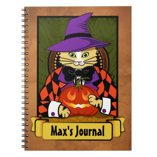 Gato de Halloween Spiral Notebook