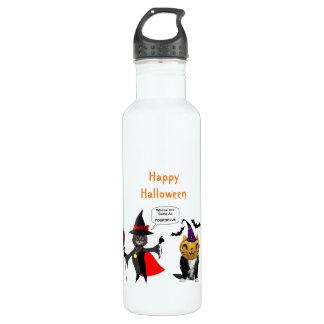 Gato de Halloween y botella de agua divertidos del