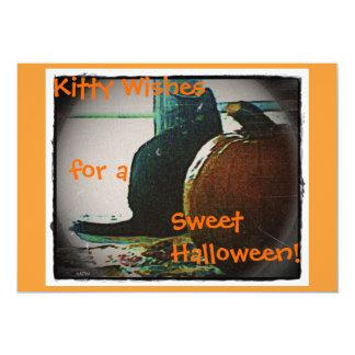 """Gato de Halloween y página de la calabaza sola. Invitación 5"""" X 7"""""""